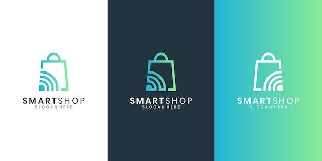 Logo del negozio online progetta modello. borsa del negozio e concetto di design del logo combinazione di icone intelligenti