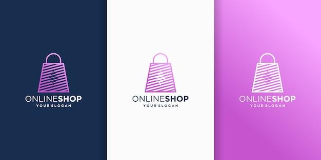 Modello di disegni di logo del negozio online. icona della borsa della spesa