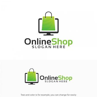 Modello di disegni di logo del negozio online