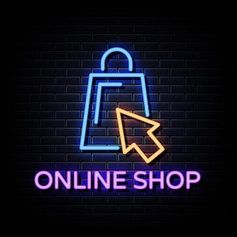 Testo di stile delle insegne al neon del logo del negozio online