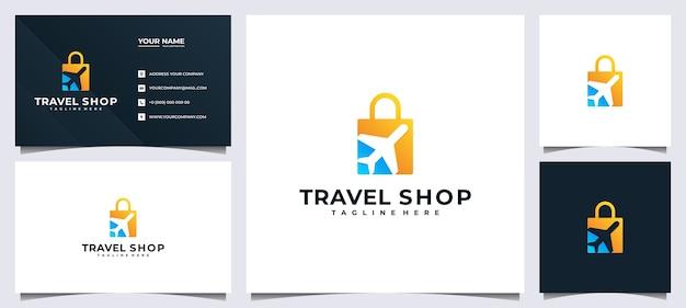 Logo del negozio online per compagnia di viaggi e biglietto da visita,