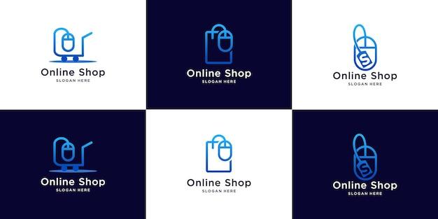 Logo del negozio online con il concetto di mouse