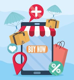 Schermo del negozio online mobile
