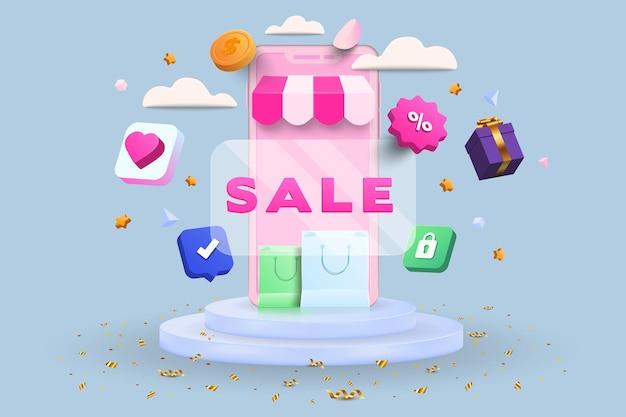 Illustrazione 3d dello shopping online, negozio online, concetto di pagamento online con elementi galleggianti. design banner sconto con rendering 3d. illustrazione di vettore.