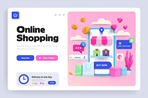 Pagina di destinazione 3d per lo shopping online