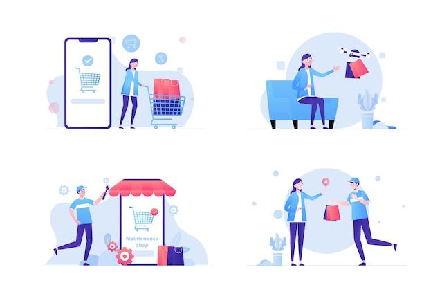 Set di attività di acquisto online, un popolo che sceglie il prodotto