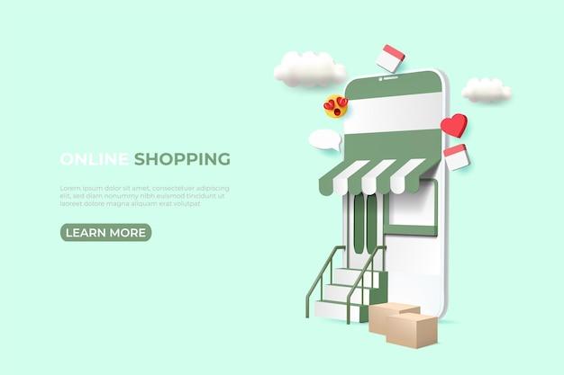 Banner di annunci di shopping online. illustrazione con lo smartphone. modello di post sui social media.