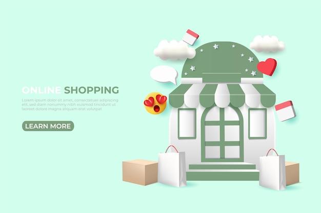 Banner di annunci di shopping online. modello di social media.