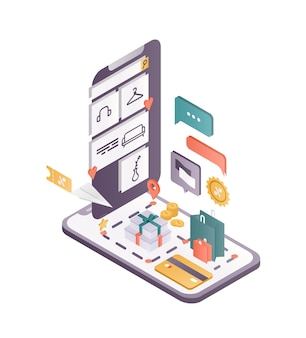 Illustrazione isometrica dell'app per lo shopping online. software mobile, applicazione per negozio in internet