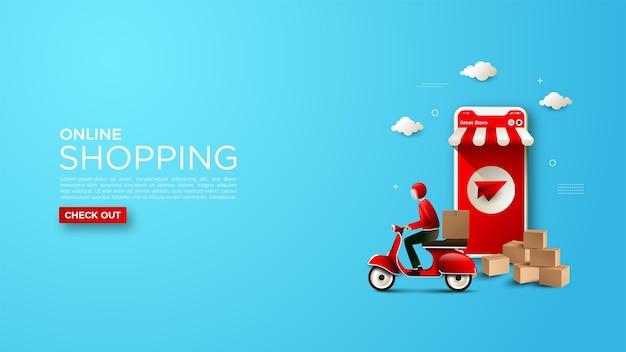 Sfondo dello shopping online con un'illustrazione del corriere di consegna