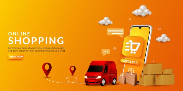 Sfondo dello shopping online, con l'illustrazione di una consegna di merci utilizzando un furgone, per il marketing digitale su sito web, banner e applicazione mobile