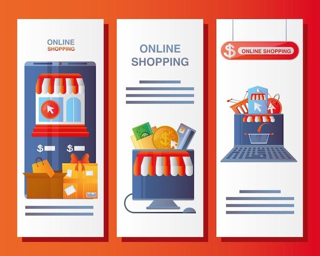 Shopping online, banner, illustrazione del modello di app mobile