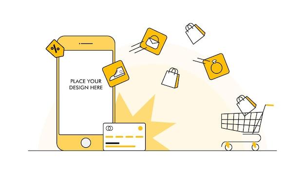 Progettazione piana dell'illustrazione di vettore di concetto dei modelli dell'app mobile dell'insegna dello shopping online