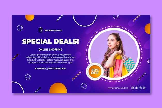 Modello di banner per lo shopping online