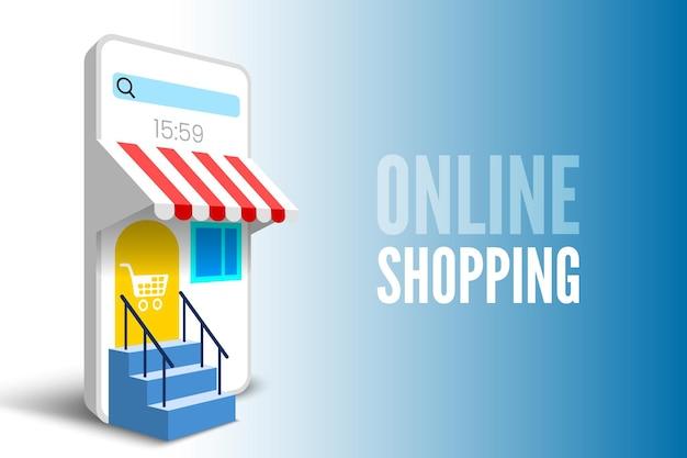 Banner per lo shopping online con smartphone e scale illustrazione vettoriale Vettore Premium