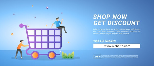 Banner per lo shopping online, promozioni di sconto per clienti fedeli. banner per supporti promozionali