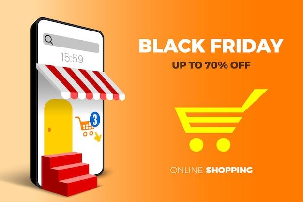 Banner di vendita venerdì nero per lo shopping online con carrello per smartphone e scale illustrazione vettoriale
