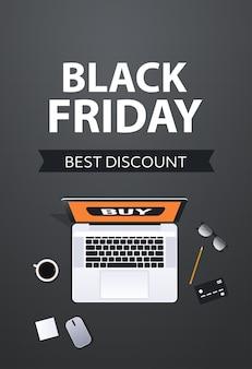 Shopping online venerdì nero vendita sconto vacanze poster concetto di e-commerce vista dall'alto verticale