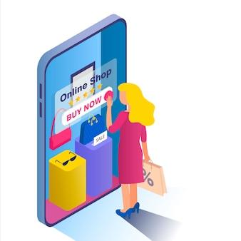 Acquisti online. la ragazza bionda sceglie le merci nel negozio online.