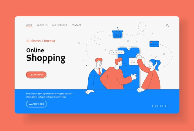 Modello di banner della pagina di destinazione del concetto di business dello shopping online Vettore Premium