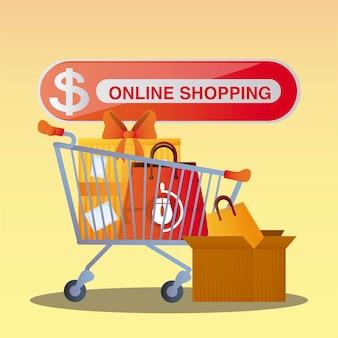 Carrello pulsante dello shopping online con confezione regalo e illustrazione della borsa