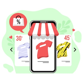 Lo shopping online acquista design piatto illustrazione