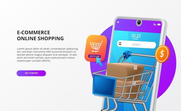 Lo shopping online acquista sul concetto di pagina di destinazione del commercio elettronico mobile promozione di marketing digitale illustrazione del telefono 3d con il carrello del carrello del pacchetto