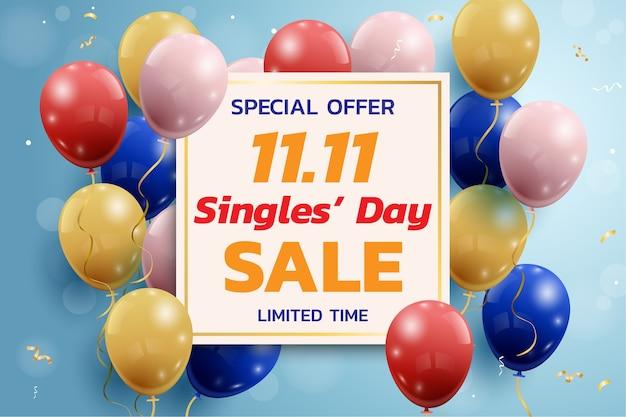 Shopping online in cina, banner di vendita per single dell'11.11.