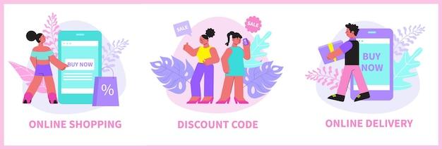 Illustrazioni piatte di composizione dello shopping online
