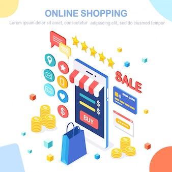 Concetto di acquisto online. acquista in negozio al dettaglio tramite internet. vendita di sconto. cellulare isometrico, smartphone con soldi, carta di credito, recensione del cliente, feedback, borsa, pacchetto. per banner