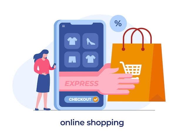 Concetto di shopping online, checkout, e-commerce di app mobili, ragazza con un telefono, illustrazione piatta vettore