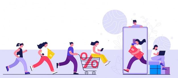 Concetto di shopping online, consumismo e persone. i giovani donne e uomini fanno acquisti utilizzando uno smartphone, un computer portatile.