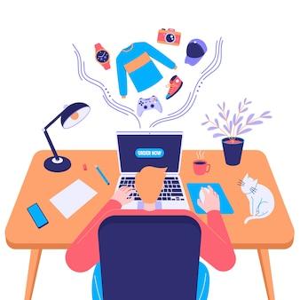 Concetto di acquisto online, marketing digitale sul sito web