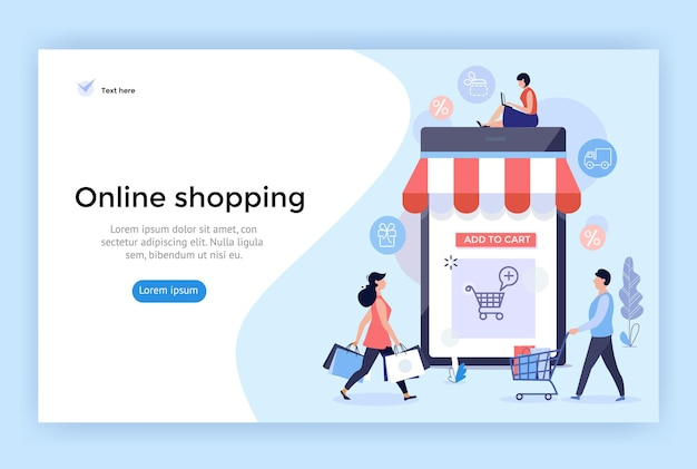 Illustrazione del concetto di shopping online perfetta per il web design