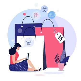 Illustrazione del concetto di shopping online, modelli web, poster di vettore di design piatto