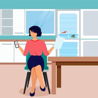 Illustrazione del concetto di shopping online, donna che fa ordine sul suo telefono. vettore