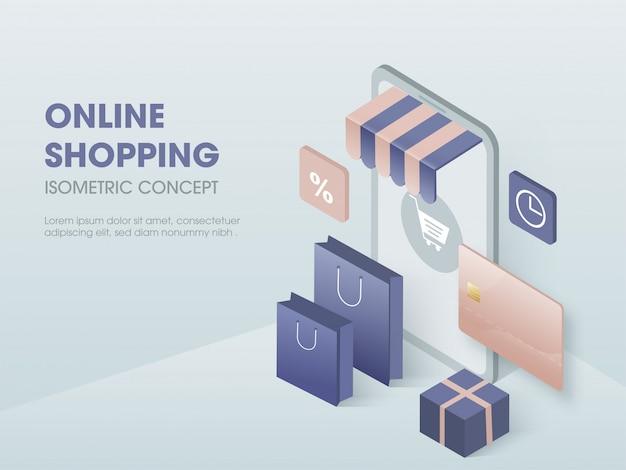 Concetto di acquisto online, illustrazione isometrica.