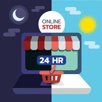 Concetto dello shopping online sullo schermo del laptop, aperto 24 ore su 24, e-commerce.