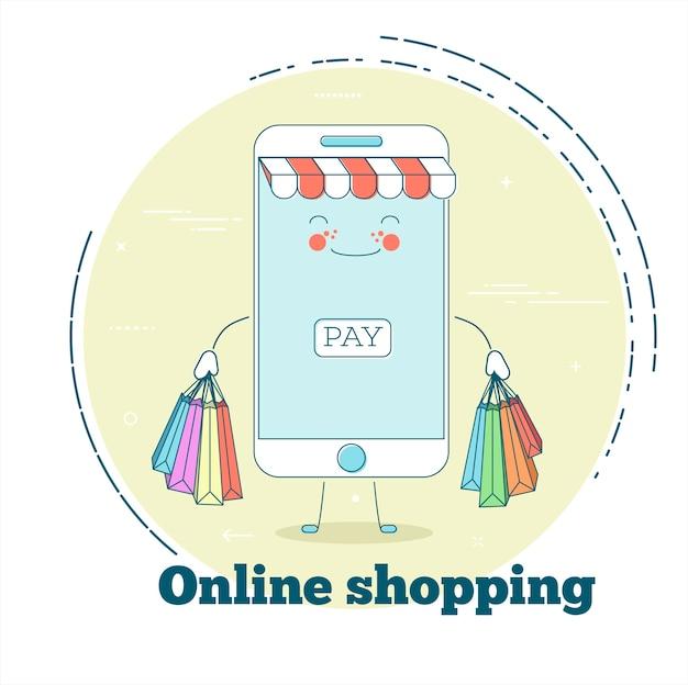 Concetto di acquisto online in stile art line
