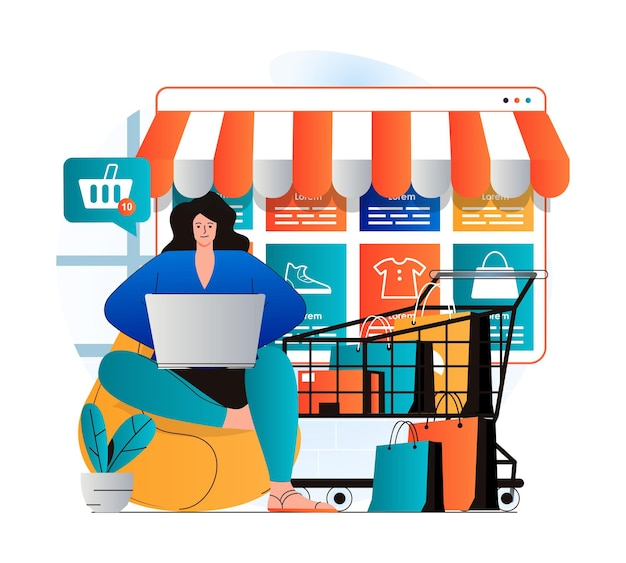 Concetto di shopping online in un moderno design piatto la donna sceglie vestiti e altri beni utilizzando il laptop