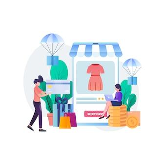 Concetto di acquisto in linea, una gente che compra cose nell'illustrazione piana del negozio in linea