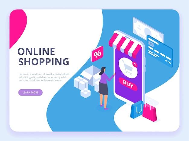 Concetto di acquisto online con carattere. vendita e consumismo.