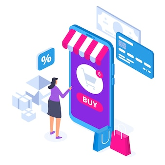 Concetto di acquisto online con carattere