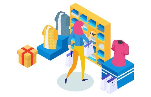 Concetto dello shopping online con carattere
