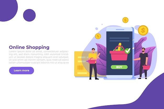 Concetto di shopping online con personaggi. e-commerce al dettaglio sul dispositivo.