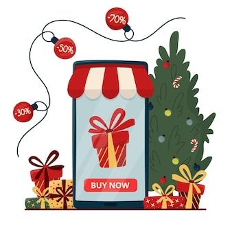Concetto di acquisto online con albero di natale e confezioni regalo