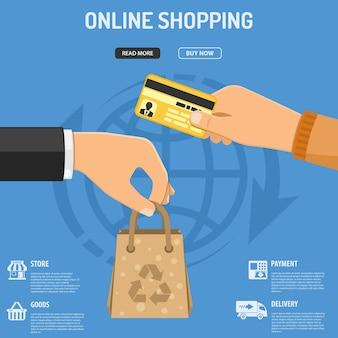 Concetto di shopping online con icone piatte mano con sacchetto di carta e mano con carta di credito. illustrazione vettoriale isolato
