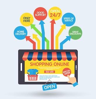 Concetto di shopping online con smartphone e icone