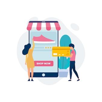 Concetto di acquisto online Vettore Premium