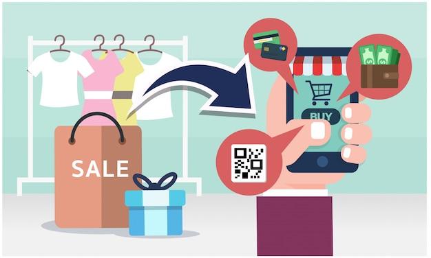 Concetto dello shopping online